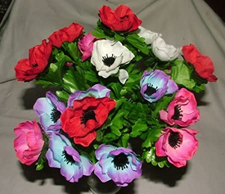 Artificial silk anemone bush with leaves 21 flower heads grave artificial silk anemone bush with leaves 21 flower heads grave home weddings spring flowers mightylinksfo