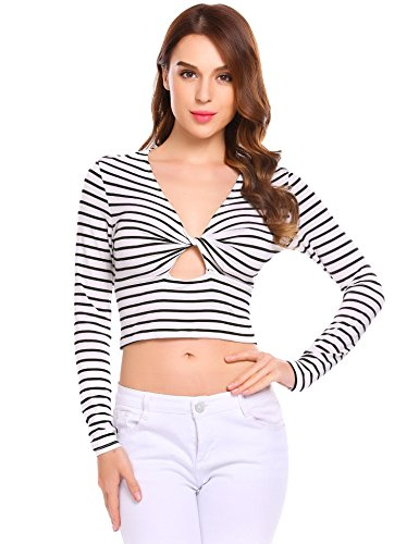 Zeaggoo Women Long Sleeve Slim Fit Cross Front Twist Stripe Keyhole Shirt Twist Front Keyhole