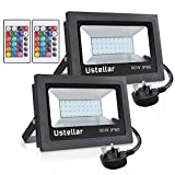 Ustellar 2 Pack 60W RGB LED Flood Light, Outdoor Coloured LED Flood Lights with Remote Control, 16 Colours 4 Modes, IP66 Waterproof Dimmable Floodlight, Super Bright Garden Decorative Lighting with UK Pl