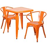 """Cheap Flash Furniture 23.75"""" Square Orange Metal Indoor-Outdoor Table Set with 2 Arm Chairs"""