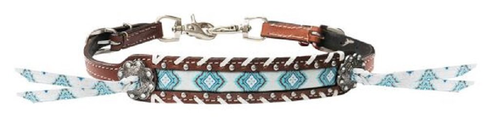 Showman Turquoise Diamond Navajo Inlay Leather Laced Trim Studded Conchos Tassels Wither Strap by Showman