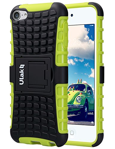 ULAK iPod Touch 7 Case, iPod Touch 5 & 6th Case, Heavy Duty Dual Shock Absorbent Impact Resistance Hybrid Rugged Case with Built-in Kickstand for Apple iPod Touch 5 6th Generation, Black+Green
