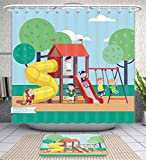 Amavam Bathroom 2-Piece Suit Group Of Kids Playing Game On A Town Public Park Playground With Swings Slides Tube And House Happy Childhood Shower Curtains And Bath Mats Set, 66'' Wx72 H & 23'' Wx16 H