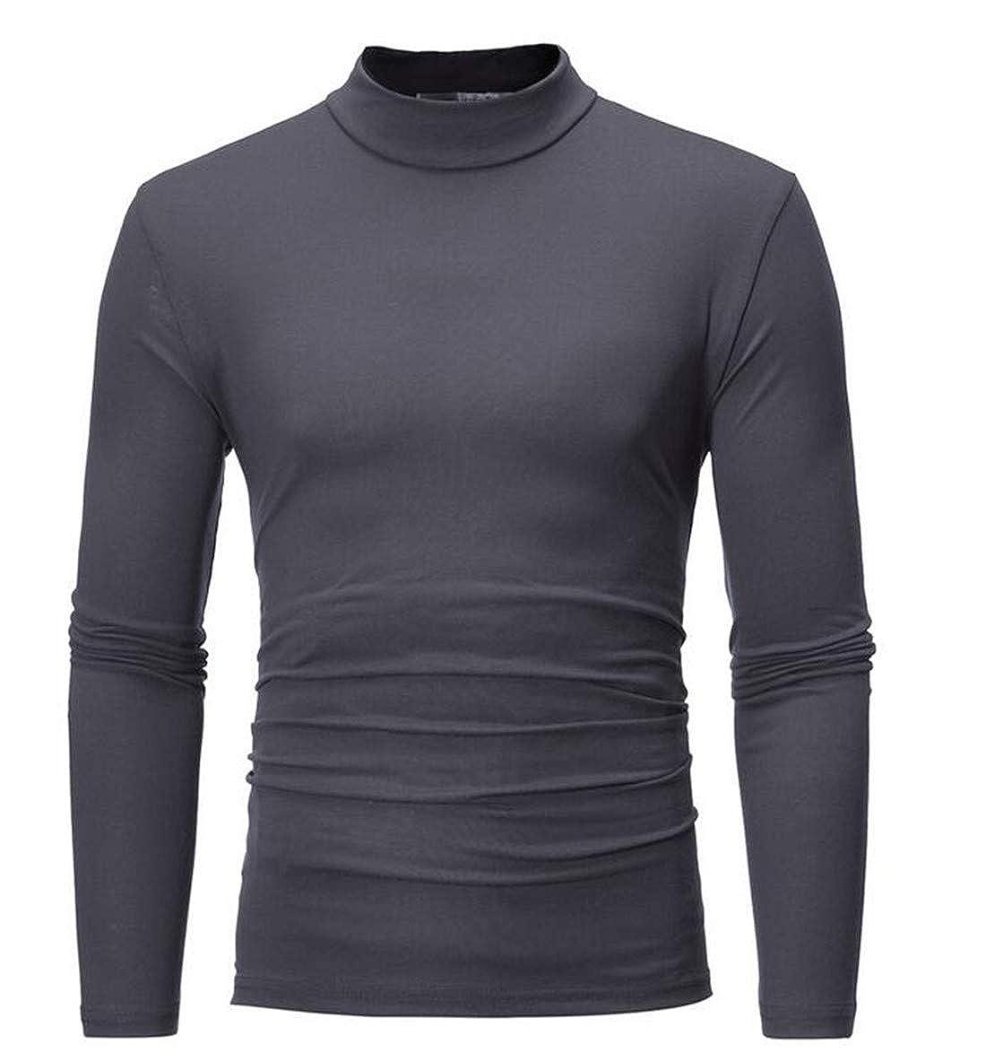 GRMO Men Autumn Mock Thermal Turtleneck Long Sleeve Basic Solid T Shirt