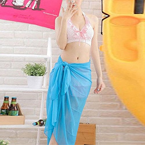 Playa cubierta para mujeres, Ouneed Mujer gasa pareo bufanda playa cubrir abrigo caftán sarong Azul