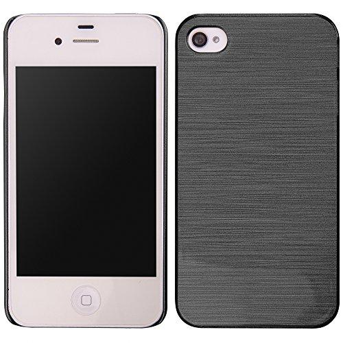 handy-point Aluminium gebürstet Optik Kunststoffhülle Hülle Schale Schutzhülle aus Kunststoff hardcase für iPhone 4 4S, Schwarz