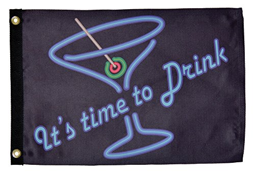 """In the Breeze """"It's Time to Drink"""" Lustre Grommeted Boat Flag, 12 by 18-Inch"""