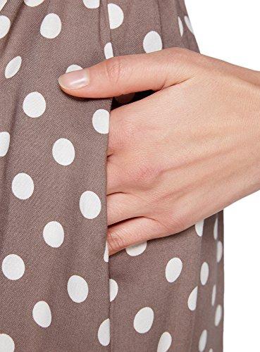 oodji Ultra Mujer Vestido Estampado de Viscosa Beige (3312D)