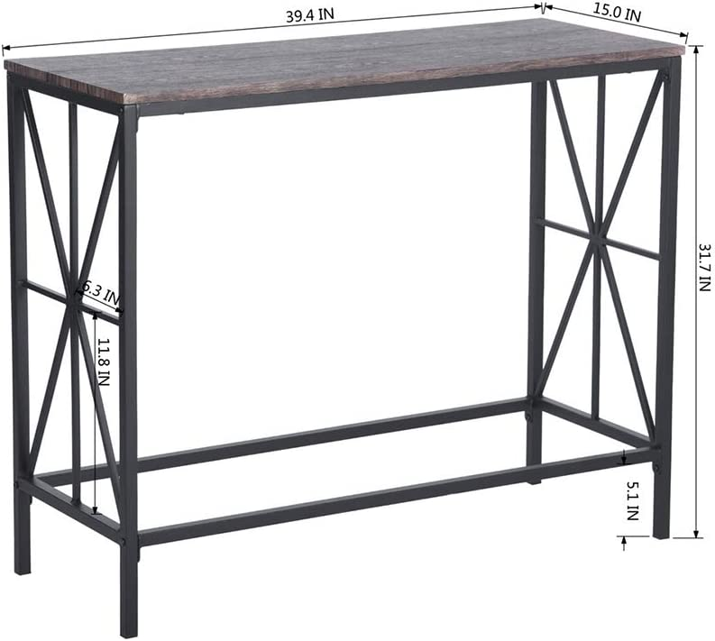 Dark Brown MDF Top and Black Metal Frame Desk Office Table Office Desk Furnish1 Console Table for Hallway and Living Room