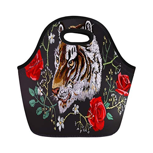 21a4235f31eb Semtomn Lunch Bags Red Black Asian Tiger Head and Roses Green Beautiful  Neoprene Lunch Bag Lunchbox Tote Bag Portable Picnic Bag Cooler Bag