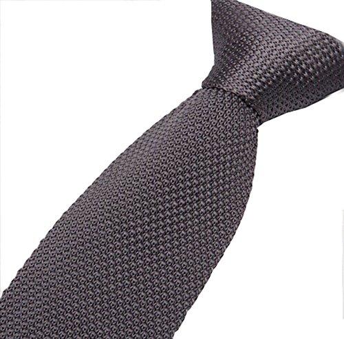 Cravatemince pour hommes gris foncé Unis bout carré de 5cm