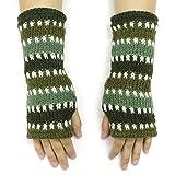 CFrost Women's Hand Knit Stitch Pattern Fingerless Arm Warmer Gloves