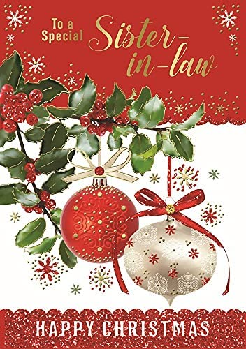 Especially for you Christmas Card Xmas Tree Red Baubles Glitter /& Foil 7.5 x 5.25