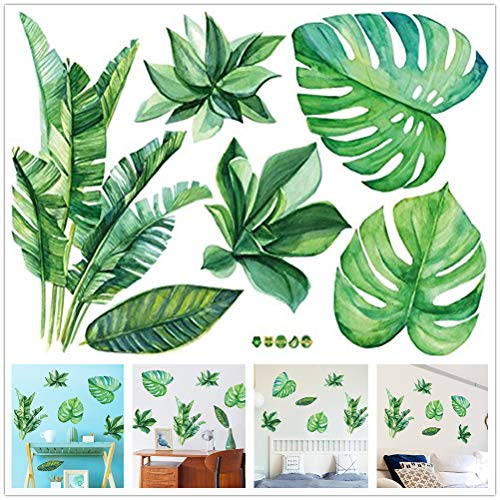 Amaonm Removable 3D Nordic Green Plants Fresh Leaves Wall Decals Nursery Decor Leaf Wall Stickers DIY Wall Art Decor Decoration Sticker for Home Living Room Girls Bedroom Offices (Leaf) ()