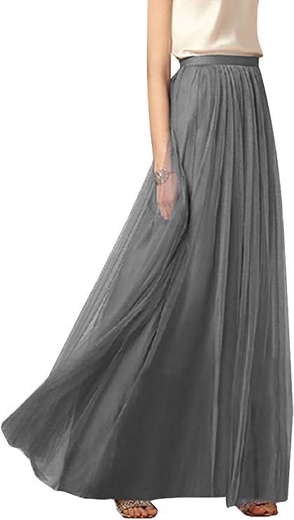 Anikigu Falda de Tul Larga para Mujer Faldas Maxi Elegantes para ...