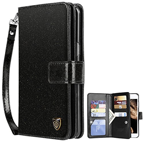 iPhone 6S Plus Case, iPhone 6 Plus Wallet Case, BENTOBEN Luxury Shiny Bling Folio Wallet Case Credit Card Slots Cash Holder Wristlet Shockproof Protective Case for iPhone 6S Plus/6 Plus Black