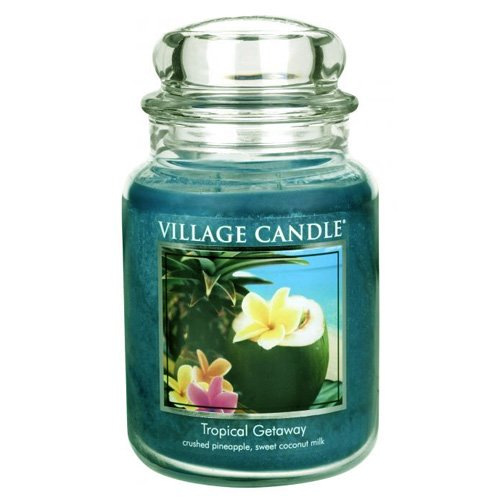 (Village Candle Tropical Getaway 26 oz Glass Jar Scented Candle, Large)