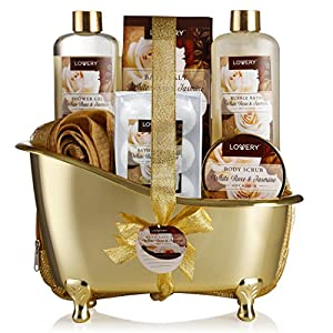 Home Spa Gift Basket, Luxury 13 Piece Bath & Body Set For Men & Women, White Rose & Jasmine Fragrance with Shower Gel, Bubble Bath, Body Scrub, Bath Salts, 6 Bath Bombs, Pouf, Cosmetic Bag & Gold Tub