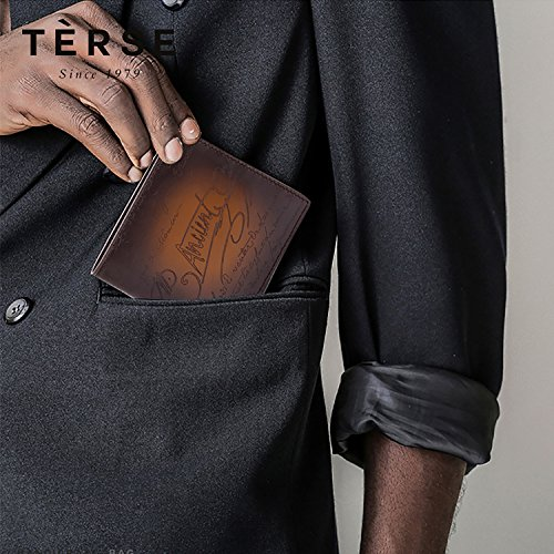 Bifold Credit Card Leather Clip Tobacco with Slim For Holder Men Wallet Italy Wallet Terse Money q54wP