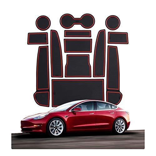 CDEFG Tesla Model 3 Car Interior Accessories Door Storage Mat,Gate Slot Mat, Coaster Mat Dust-Proof Anti-Slip(13 PCS) (Red)