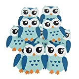 Wooden Owl Animal Cutouts, Blue, 4-1/4-Inch, 10-Piece