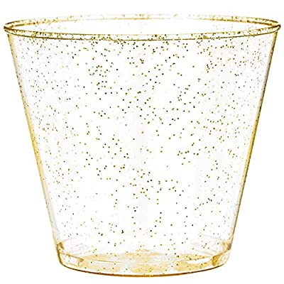 Glitter Disposable Cups | 5 oz. 100 Pack | Clear Plastic Cups | Gold Glitter Plastic Party Cups | Disposable Plastic Wine Glasses for Parties | Plastic Cocktail Glasses | Wedding Holiday Tumblers