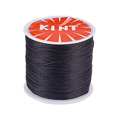 (PandaHall Elite 1 Roll 0.5mm Round Waxed Cotton Cord Thread Beading String 116 Yards per Roll Spool for Jewelry Making and Macrame Supplies Black)