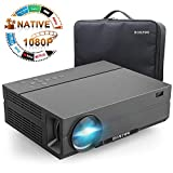 Projector, Hompow 2019 Upgraded Native 1080P Video Projector 5500Lux 80,000 Hours Led for PPT Business Presentations Home Theater Compatible with TV Stick/HDMI/VGA/USB/TV Box/Laptop/DVD/PS4