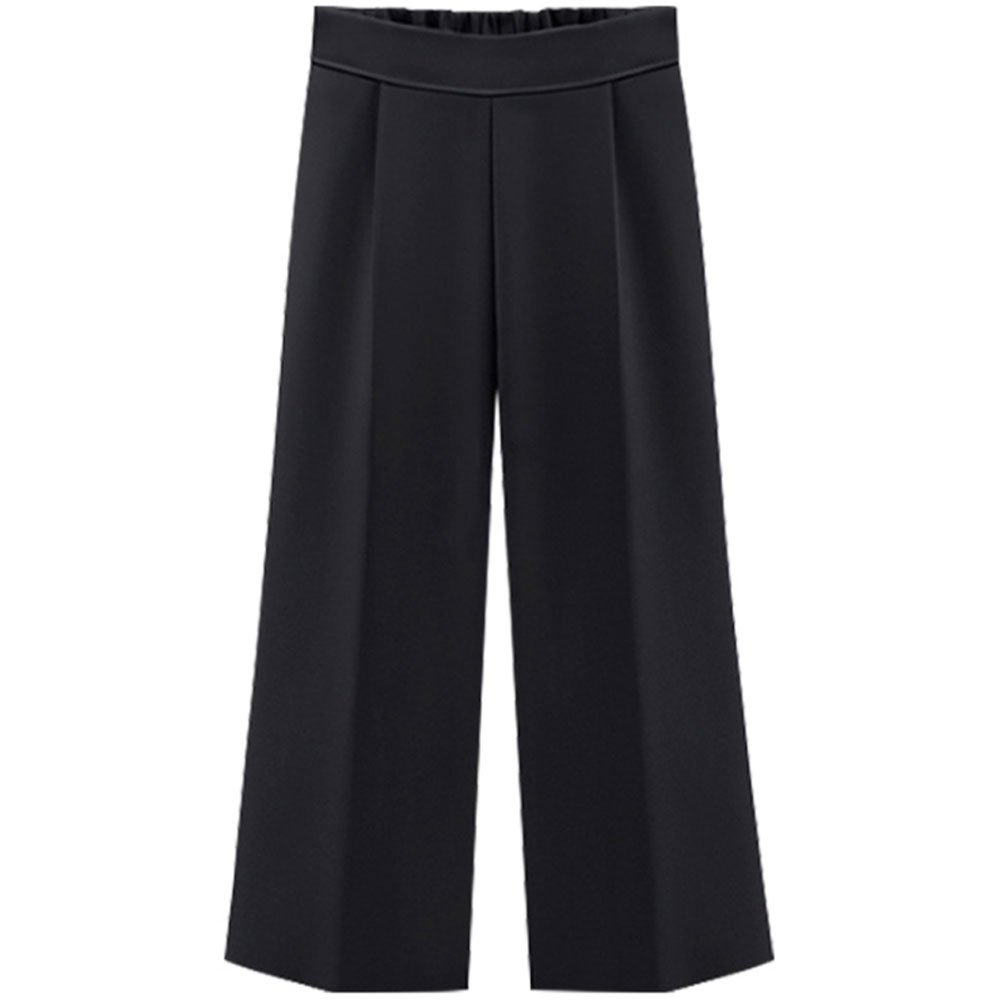 Pevor Women's Causal Solid Chiffon High Waisted Elegant Lounge Wide Leg Palazzo Pants (2XL, Black)