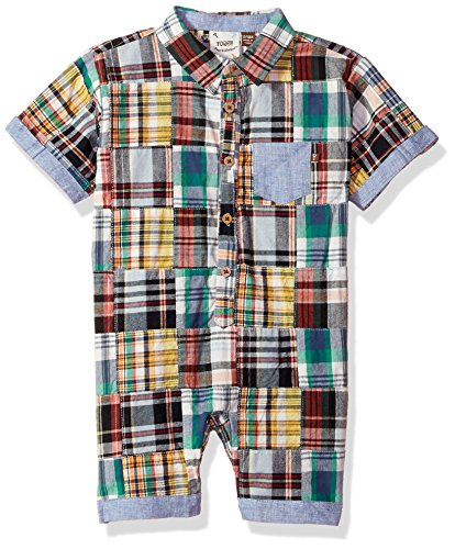 Fore!! Axel & Hudson Boys' Madras Romper, Madres 3/6 Months