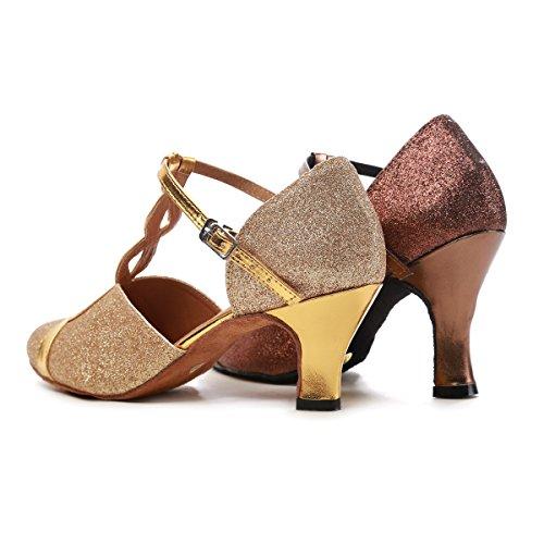 Minishion Gl262 Femmes T-strap Glitter Pratique Chaussures De Danse Chaussures De Soirée Café-8cm Talon