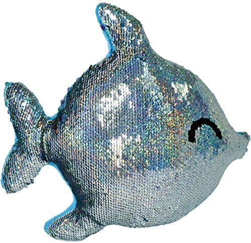 iscream Rainbow Fish Shaped 11.5 x 10 Reversible Sequin Soft Fleece Back Pillow