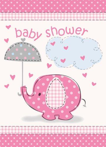 Pink Elephant Baby Shower Invitations]()