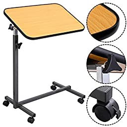 NEW Overbed Rolling Table Over Bed Laptop Food Tray Hospital Desk With Tilting Top