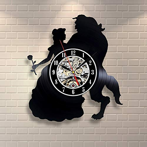 Batman Baby Shower Ideas (Everyday Arts Beauty and The Beast Disney Cartoon Vinyl Record Wall Clock Get Idea Baby Shower Present Wedding Gift Engagement Present for Couple Gift for Girls Women Her Kids)