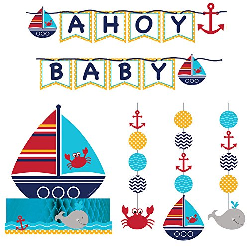 Nautical Theme Centerpieces (Ahoy Matey Party Decorations Supply Pack - Hanging Cutouts, Banner, and Centerpiece)