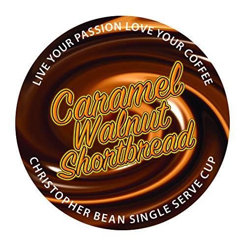 Caramel Walnut Shortbread Decaffeinated, Christopher Bean Coffee Single ( 18 Count )