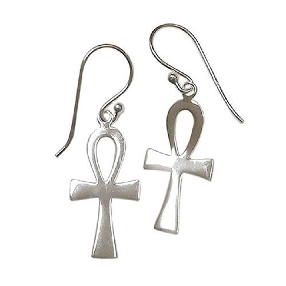 Sterling Silver Egyptian Cross Ankh Drop Earrings - 100% Hypoallergenic and Allergy Free Jewelry