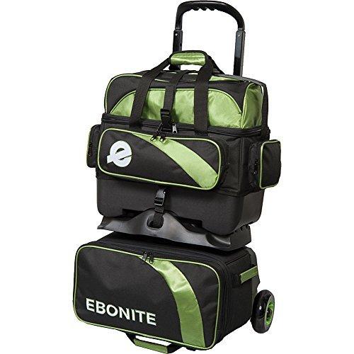 Ebonite Equinox 4 Ball Roller Bowling Bag, Black/Lime