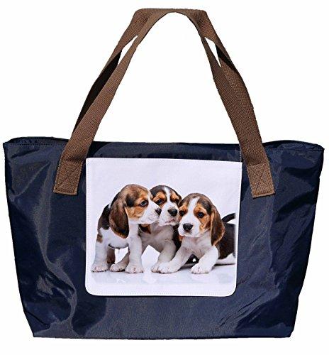 Shopper /Schultertasche / Einkaufstasche / Tragetasche / Umhängetasche aus Nylon in Navyblau - Größe 43x33cm - Motiv: Beagle Porträt - 05