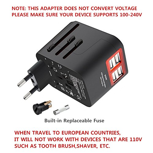 Worldwide Travel Charger With 4 Usb Ports Power Converters For Eu Uk Us Usa Au Europe