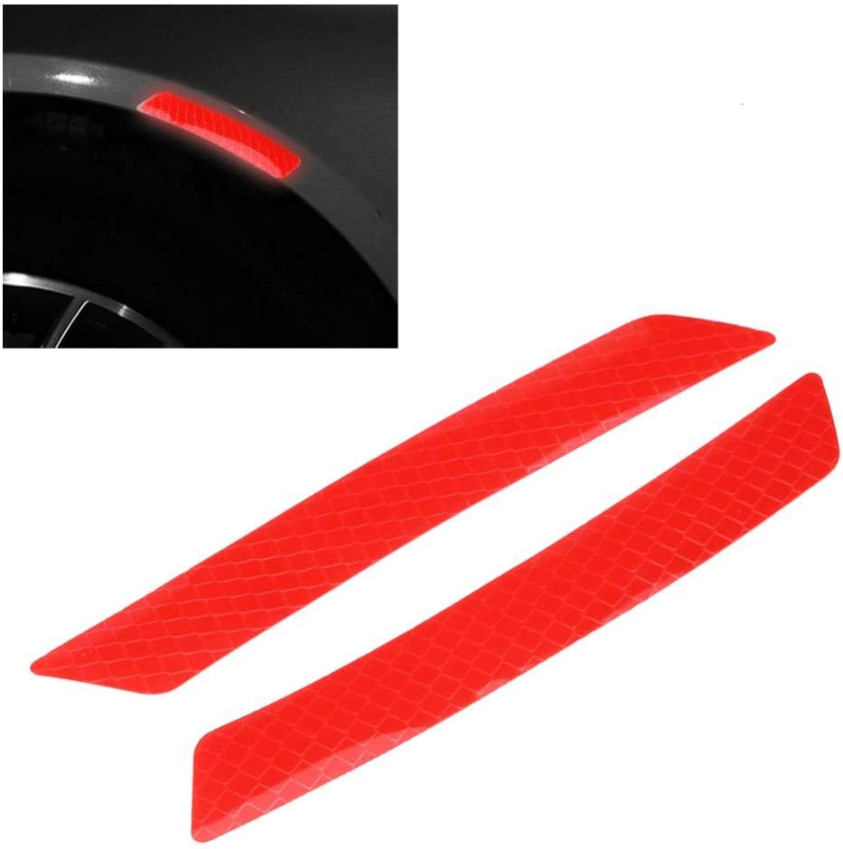 Cuque 4Pcs Car Wheel Bumper Reflective Tape Caution Warning Safety Reflector Strips Tape Sticker Decal for Automobile Car Red