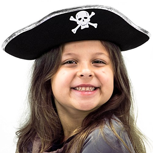 Hard Tricorne Pirates Hat Halloween Costume Accessory - Dress Up Theme Party Roleplay & Cosplay (Halloween Pirate Hats)