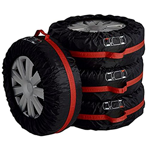 LoLa Ling 4pcs Car Auto Spare Tire Wheel Protection Covers Black and Red Storage Bags Carry Tote Cover Vehicle Wheel Protector by LoLa Ling (Image #2)