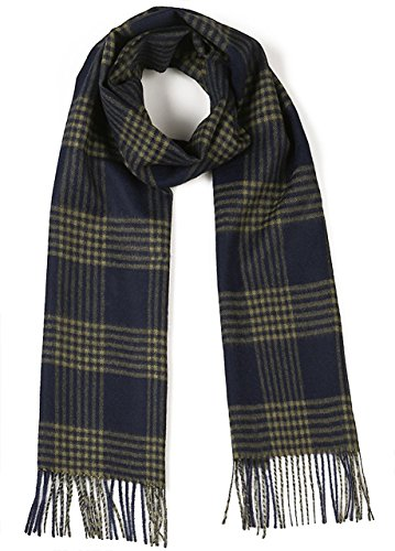 Cross Hatch Plaid Scarf 100% Pure Baby Alpaca - Unequalled Luxury for Men & Women (Navy / Military) (Pure Baby Alpaca)