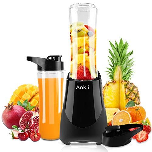Professional Personal Size Blender with 300-Watt Base, Vitamin and Nutrient Extraction, Detachable Blade Assembly, Total Crushing Technology for Smoothies, Shakes, Vegetable and Frozen Fruit, 2 Tritan Bottle with 20 oz, Black