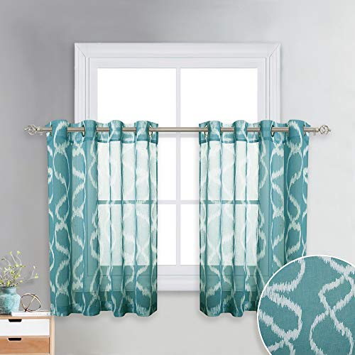 KGORGE Printed Sheers for Small Window - Translucent Semi Voile Sheers with Abstract Teal Circle Bubble Printed, Faux Linen Textured Curtain Panels for Kitchen, 52