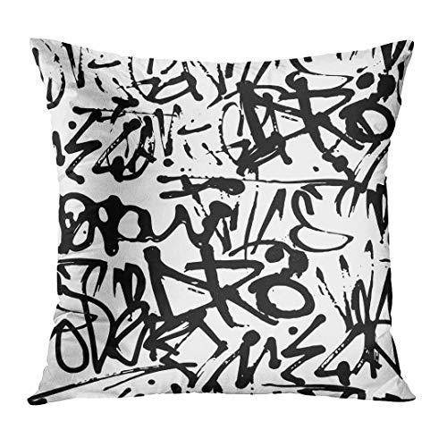 - Throw Pillow Cover Graffiti with Abstract Tags Letters Without Meaning Street Retro Style Old School Design Black White Decorative Pillow Case Home Decor Square 18x18 Inches Pillowcase