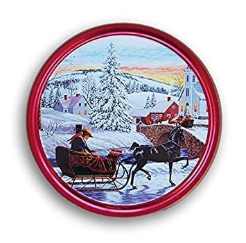 Christmas Holiday Butter Cookies Tin Romantic Sleigh Ride