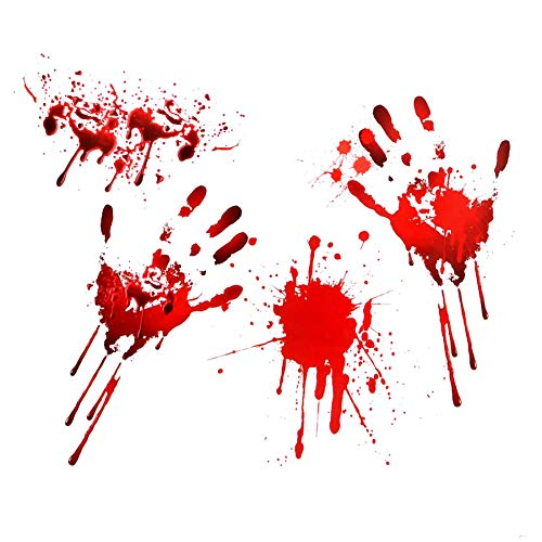 Gifts 4 All Occasions Limited SHATCHI-932 Halloween Window Bloody Print Blood Hand Party Sticker Clings Scary Wall Decoration, Red -